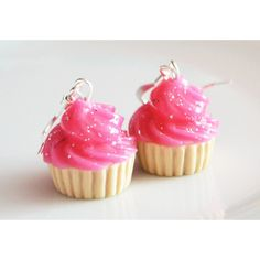 Cupcake Pink Glitter Earrings, Fimo, Polymer Clay ($13) ❤ liked on Polyvore