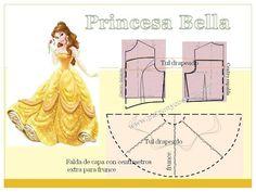 Patrón y costura nos muestra cómo realizar los cambios al patrón base para el modelo de Bella princesa de Disney:               1. Tomamos las medidas.2. Realizamos patrón base. Ver cóm