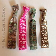 Browning & Camo elastic hair ties set on Etsy, $6.25