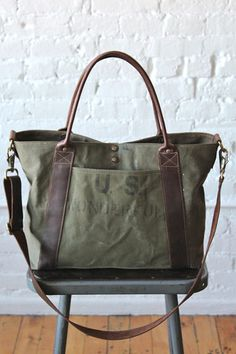 WWII era US Wonderful Weekend Bag - FORESTBOUND Denim Tote Bags, Tote Purse, Canvas Leather, Leather Bag, Waxed Canvas Bag, Leather Jacket, Shopper, Weekender, Bag Making