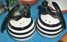 VINTAGE RETRO ART DECO BLACK & WHITE STRIPED TEA KETTLES  SALT & PEPPER SHAKERS