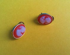 """Antique Salmon and Gold Colored Cameo Clip Earrings 1940s $14.00 
