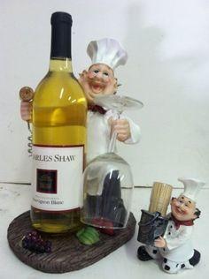 Italian Fat Chef Waiter Wine Holder Matching