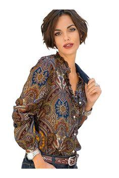 Дамска блуза в цвят коняк/шарен - Alba Moda | Stilago