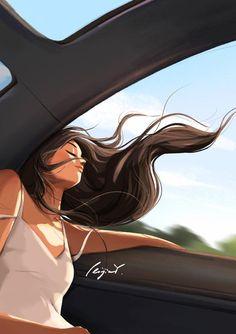 Girly Drawings, Art Drawings Sketches, Girl Cartoon, Cute Cartoon, Digital Art Illustration, Mode Poster, Wow Art, Digital Art Girl, Cute Couple Pictures
