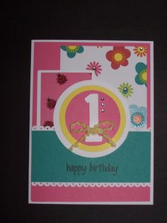Kid's 1st birthday card - idea originally pinned by Jenny Coombs - used Silhouette Cameo