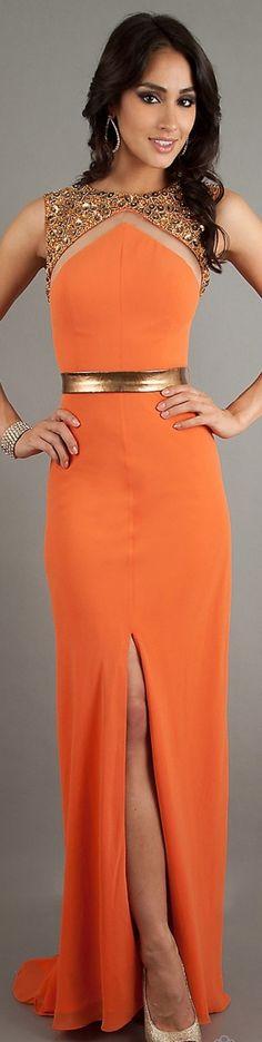 Formal long dress #orange #gold #fashion #sexy #dresses