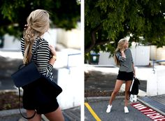 Streetstyle/Outfit Striped T-Shirt and converse