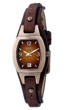 I love the leather band on this watch and the amber colored face!    Fossil Women's JR9760 Skinny Brown Leather Strap Brown Analog Dial Watch: Watches: Amazon.com