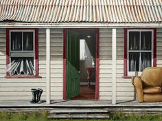 The Old Front Porch - complete with gumboots and sofa! By Graham Young… New Zealand Landscape, Sparkling Lights, Bold Colors, Front Porch, Backdrops, Old Things, Outdoor Structures, Art Prints, Sheds