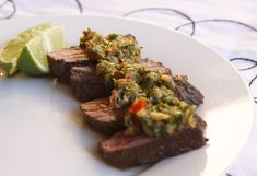 Ingredients Ostrich steak Marinade: 1 teaspoon minced garlic 1 teaspoon freshly chopped coriander/cilantro leaves 2 tablespoons olive oil 3 tablespoons lime vodka or tequila 1 tablespoon fresh… Steak Recipes, Sauce Recipes, Gourmet Recipes, Ostrich Meat, Coriander Cilantro, Baked Eggplant, Chimichurri, Pork Belly, Clean Eating