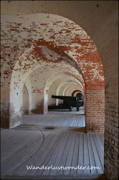 Fort Pulaski-Tybee Island, Georgia. Eerie, because war zones and jails have been soaked with death. Even construction has a darkness. When they ran out of straw to make the bricks, they shaved the heads of slaves and used their hair. Beautiful arched entries and ceilings...came with a price. Learn from history and make today better for all; children learn hate and predjudice from adults.