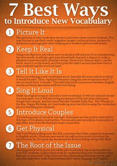 7 Best Ways to Introduce New Vocabulary.   Repin if you ❤ it! ... Busy Teacher's Treasures http://pinterest.com/busyteacherorg/busy-teacher-s-treasures/