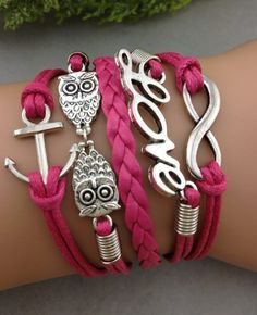Magenta Owl, Love and Anchor Arm Party Bracelet. Sarah found everything I love on one bracelet ♡ Leather Charm Bracelets, Love Bracelets, Infinity Bracelets, Cute Jewelry, Jewelry Accessories, Jewelry Design, Anchor Charm, Pink Owl, Disney Jewelry