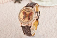 Newest Fashion 6 Colors Women Colourful Ladies Leather Quartz Wristwatches Butterfly Diamond Watches