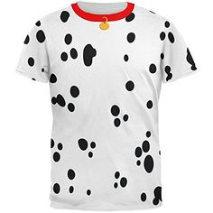 Dog Dalmatian Costume Red Collar All Over Adult T-Shirt - Small Animal World                                                                                                                                                                                 More