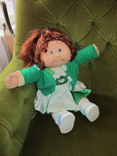 Vtg. Cabbage Patch Kid - red corn silk hair with cheer leader outfit