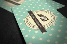 Retro Business Card with Polka Dots by DESIGN BY nube on @creativemarket