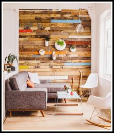 Decorating with palets: DIY colourful wall