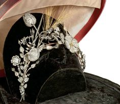 Diamond tiara ca. 1826, possibly Italian. Remarkable quality. Disassembles into several pins, band and collar.   Via Christie's Milan. Diamond Tiara, Marquise Cut Diamond, Pear Shaped Diamond, Rose Cut Diamond, Royal Crowns, Tiaras And Crowns, Royal Tiaras, Vintage Glam, Vintage Jewelry