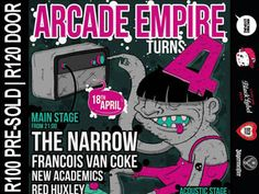 Arcade Empire turning 4 years old on the 18th of April and what better way to celebrate than to bring you one insane day/night line-up of some of SA's greatest artists! Big thanks to everybody that supported us throughout the past four years! We can't wait to party with you all!  https://www.ticibox.com/event/4450603