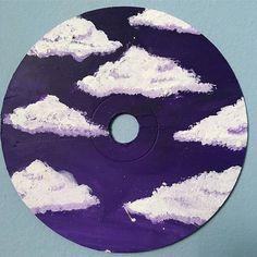 Cute Paintings On Canvas Clouds Cute Canvas Paintings, Small Canvas Art, Mini Canvas Art, Aesthetic Painting, Aesthetic Art, Aesthetic Drawing, Record Wall Art, Cd Art, Ideias Diy