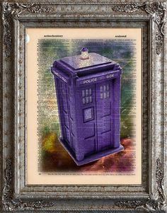 Doctor Who Tardis on Vintage Upcycled Dictionary Page