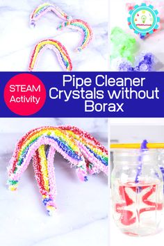 Today, we're bringing a twist on how to make crystals without borax by making these fun salt crystal rainbows! Borax Crystals, Diy Crystals, Large Crystals, Crystals For Kids, How To Make Crystals, Science Experiments Kids, Science For Kids, Science Fair, Crystal Names