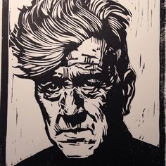 David Lynch Linoleum block print #linocut #portrait #picoftheday #davidlynch