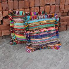 Indian Boho Pillow cover decorative Throw pillow Indian Bohemian Pillow with fringes, Farmhouse pillow Rug pillow, Colorful Rag Rug Pillow by MultimateCollection on Etsy Vintage Design, Style Vintage, Vintage Home Decor, French Vintage, Indian Pillows, Bohemian Pillows, Bohemian Rug, Fabric Rug, Fabric Scraps