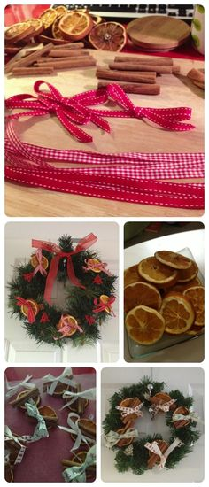 How to make a homemade Christmas wreath with dried orange slices and cinnamon sticks