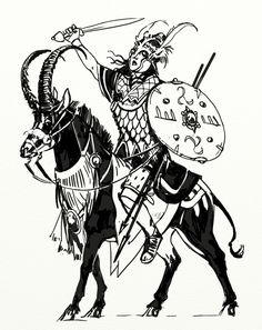 Sketch of an Sartarite household warrior - This sketch by Jan Pospisil depicts a professional warrior equipped by a clan chieftain or tribal king and who serves as one of his household bodyguards. She rides a sable antelope (Praxian beasts are common riding animals in much of Dragon Pass).