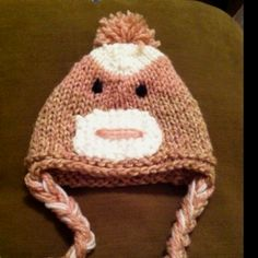 Hand made monkey hat www.facebook.com/remember.purl