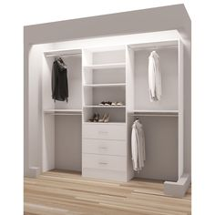 TidySquares Classic White Wood 93 Inch Reach In Closet Organizer