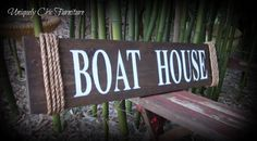 Boat House Sign ~Wall Decor~Coastal Lake Nautical Home~Jute Rope Hanging Signs, Wall Signs, Painted Letters, Hand Painted, Victorian Front Garden, Home Design Living Room, Driftwood Beach, Nautical Home, Beach Signs