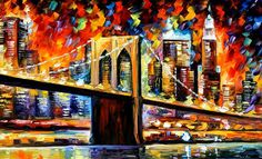 New York Brookyln Bridge Painting  Leonid Afremov