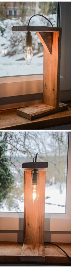 Great Lampe aus Paletten Holz altes Paletettenholz Lampenfassung Birne Verkabelung