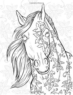 The Magical World Of Horses: Adult Coloring Book Horse Coloring Pages, Printable Adult Coloring Pages, Colouring Pages, Coloring Books, Horse Stencil, Horse Drawings, Colorful Drawings, Pictures To Paint, Crochet