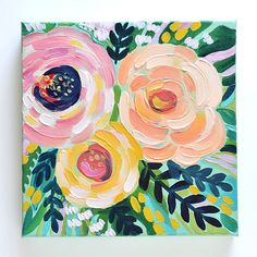 "Painting-A-Day ""Ophelia"" — Julie Marriott Acrylic Painting Flowers, Acrylic Painting Canvas, Acrylic Art, Diy Painting, Summer Painting, Small Canvas Paintings, Mini Canvas Art, Floral Paintings, Art Floral"