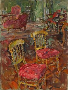 'Gilt Chairs' by Susan Ryder Muse Art, Painting Still Life, Art Themes, Art Club, Art Forms, Art Drawings, Street Art, My Arts, Photos