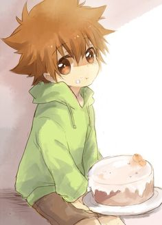 Kid Tsuna offering you a cake. What do you say?