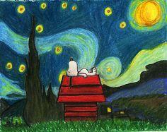 Starry Night Snoopy by KnoxCat.deviantart.com on @DeviantArt
