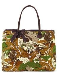 """Large 18"""" Quilted Brown Camo Tote Bag w/Bow Accents"""