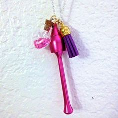 Cork Vial Necklace by Best Kept Secret Jewelry. Special Pipe AND Vial Necklace w/ Pink Mushroom Pipe, Pink Diamond-Shaped Crystals in Heart-Shaped Cork Vial, and Purple Tassel.