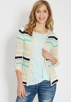 lightweight striped cardigan with hood and pockets | maurices