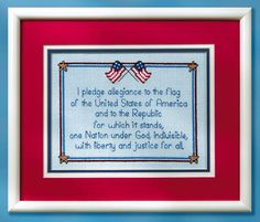 Free Pledge of Allegiance to the Flag Patriotic cross-stitch chart pattern