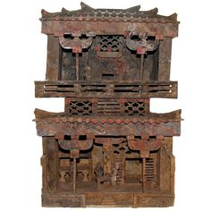 Large and Unusual Two Story Model House Sichuan Province, China, Han Dynasty, 206 - 220 AD - Architectural models were placed in Han tombs for use in the afterlife and symbolized the high status of the person buried in the tomb