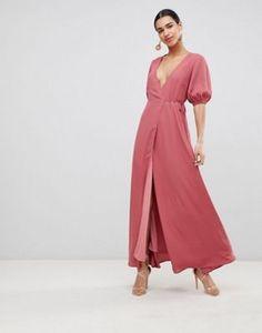 Acquista Fashion Union - Vestito lungo a portafoglio con maniche a  palloncino su ASOS. Scopri 640a5177bda