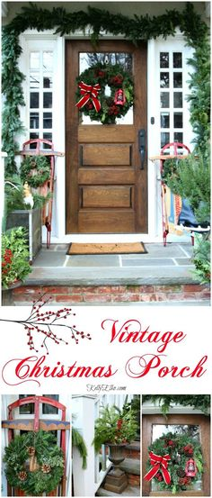 Vintage Sled Christmas Porch - love her tips for getting lush planters on the cheap! http://kellyelko.com