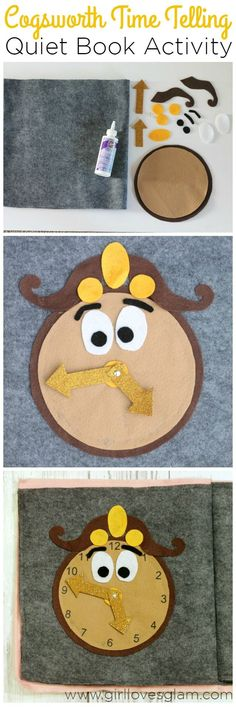 Cogsworth Time Telling Quiet Book Activity on http://www.girllovesglam.com